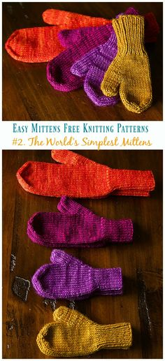 The World's Simplest Mittens Knitting Free Pattern - Easy #Mittens Free #Knitting; Patterns