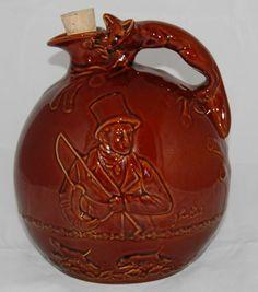 Vintage jug Decanter Hunting Scene Fox Handle Crown Devon John Peel  #CrownDevon
