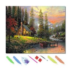 Every Paint By Diamond Painting Kit comes with everything you need from start to finish. - one adhesive canvas with film covering - number coded beads by color - application tool - adhesive pad - plastic tray to hold beads. Simply follow the steps below at your own leisure to finish your painting: Color By Numbers, Paint By Number, Patterned Paint Rollers, Princess Cartoon, Disney Princess, Photo Mosaic, Time Painting, Autumn Scenery, Sea Waves