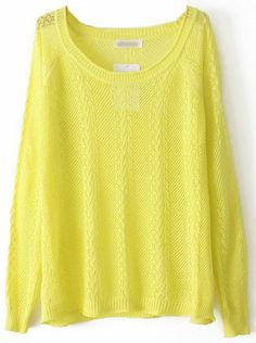 Yellow Long Sleeve Hollow Pullover Sweater pictures