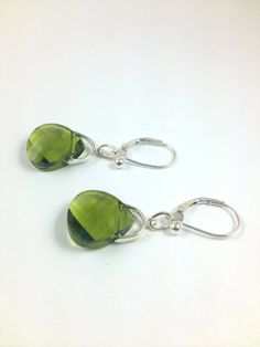 Green Swarovski Earrings Made with by LittleBoxOfCrystals on Etsy