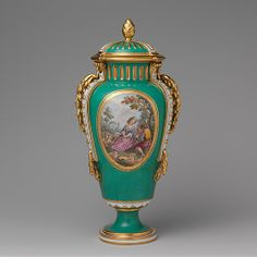 Vase with cover (Vase à bandes) (one of a pair) Sèvres Manufactory (French, 1740–present)  Decorator:     Figures by Charles-Nicolas Dodin (...