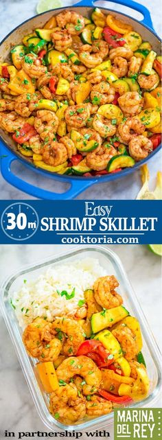 This Easy Shrimp and Vegetable Skillet makes a healthy quick and delicious dinner! Packed with wild-caught shrimp tender zucchini and sweet bell peppers it is going to become your favorite seafood dish! Easy Cooking, Cooking Recipes, Healthy Recipes, Cooking Bacon, Quick Recipes, Cooking Ideas, Clean Eating Recipes, Clean Eating Snacks, Fish Recipes