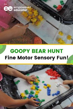 Goopy Bear Hunt fine motor sensory fun for toddlers - this is a fun sensory activity incorporating fine motor skills, colour recognition, classification, and counting. It's best set up outdoors but can be modified as an indoor activity. Your children will have lots of fun with this activity! | The Empowered Educator Sensory Activities Toddlers, Motor Skills Activities, Indoor Activities, Fine Motor Skills, Family Day Care, Toddler Fun, Counting, Outdoors, Bear
