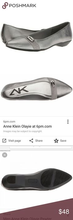 NWT Anne Klein Pewter Pointy Toe Flat Super cute silver flat with slight heel lift and point toe shape from Anne klein. Brand new in box never worn no flaws. Please feel free to make an offer! Anne Klein Shoes Flats & Loafers