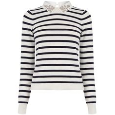 Oasis Striped Embellished Collar Jumper, Multi (2.920 RUB) ❤ liked on Polyvore featuring tops, sweaters, extra long sleeve shirts, white cotton sweater, long sleeve cotton shirts, long sleeve sweater and collared shirt