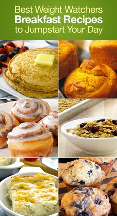 Best Weight Watchers Friendly Breakfast Recipes to Jumpstart Your Day including Pancakes Blueberry Muffins Pumpkin Muffins Banana Bread Apple Coffee Cake Cinnamon Rolls and more! No Calorie Foods, Low Calorie Recipes, Ww Recipes, Cooking Recipes, Healthy Recipes, Cake Recipes, Recipies, Plats Weight Watchers, Weight Watchers Breakfast