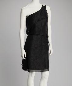 R Richards Black Metallic Asymmetrical Ruffle Dress - Women