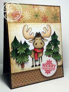 Stamp - Merry Christmoose  from SugarPea Designs   Paper - Believe from Bazzill   Pierced Circle - LabelTreat Die SugarPea Design...