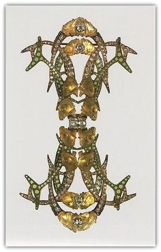 René-Jules Lalique (French, Aÿ 1860–1945 Paris). Brooch - ca. 1905. Gold, enamel, diamonds, glass.