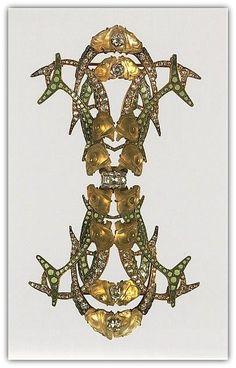 René-Jules Lalique (French, Aÿ 1860–1945 Paris). Brooch - ca. 1905. Gold, enamel, diamonds, glass.