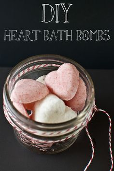 """DIY Valentine's Day Heart Bath Bombs  (via Transient Expression) // The author states that all ingridients """"aside from the essential oils, everything else should be available in any grocery store these days"""" and that this is geared towards those of us in high humidity cities where bath bombs tend to fizz away before use."""