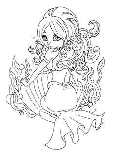 Mermaid pin up  by *JadeDragonne