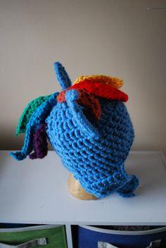 My Little Pony Friendship is Magic RAINBOW DASH crochet hat. $32.00, via Etsy.