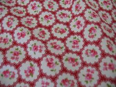 Pink roses vintage style on Red with cream dots - My Fabric Place  £6