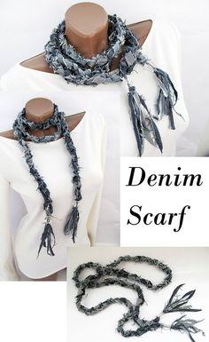 Scarf Necklace, Fabric Necklace, Scarf Jewelry, Fabric Jewelry, Jewlery, Denim Earrings, Denim Ideas, Diy Scarf, Denim Crafts