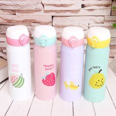 Thermocup Coffee Tea Thermos Stainless Steel Insulation Cup Garrafa Termica Vacuum Flasks Termos Mug Water Bottle - You Wish Gift Thermos Water Bottle, Water Flask, Cute Water Bottles, Drink Bottles, Stainless Steel Thermos, Stainless Steel Types, Kawaii Fruit, Food Storage Boxes, Drinking Fountain