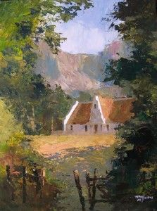 House In Woods Against Mountains - Tony De Freitas Art Paintings, Landscape Paintings, Upcoming Artists, South African Artists, Amber Heard, Art Work, Woods, Landscaping, Encouragement