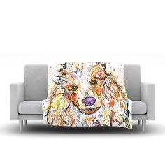 """Rebecca Fischer """"Lily"""" Poodle Fleece Blanket, 80"""" x 60"""" - Outlet"""