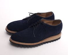 Yuketen Navy Suede Plain Toe with Ripple Sole