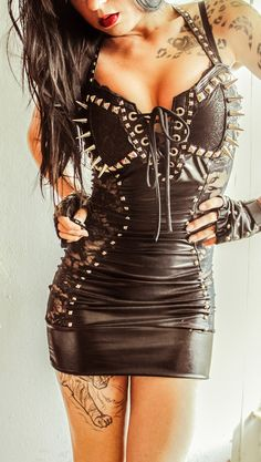 Image of TOXIC VISION Black Widow leather n lace dress