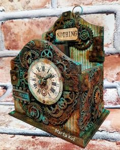 Altered Boxes, Altered Art, Steampunk Crafts, Decoupage Box, Diy Clock, Steampunk Fashion, African Art, Wood Watch, Craft Projects