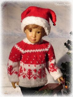 Hand-knit Fair Isle Sweater &Jester Hat for Kidz n Cats dolls by Debonair Designs