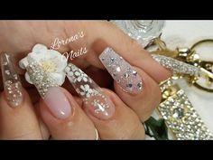 uñas acrílicas Nude canela con cristal pixie con un toque elegante!! - YouTube