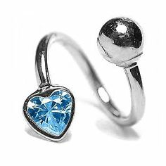 "Blue Topaz - 16G 3/8"" Heart Solid 14K White Gold Twister / Spiral Barbell- (December) FreshTrends. $85.99"