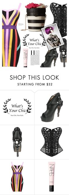 """""""Gothic Style: Corset Over Dress"""" by eclectic-chic ❤ liked on Polyvore featuring NARS Cosmetics, Betsey Johnson, stripes, goth, bandagedress, summerbooties and cutesyhandbag"""