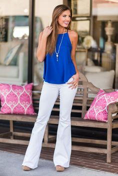 """The Vikki Tank, Cobalt""How pretty is this tank?! We know you are going to fall 100% in love with this beauty! It's solid color makes it great for layering! #newarrivals #shopthemint"
