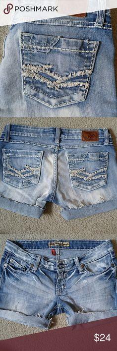 BKE Stella cutoff shorts Light wash buckle cut off shorts. Some Fraying where cut. Cute shorts Great condition! BKE Shorts Jean Shorts