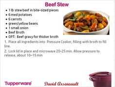 Beef stew Tupperware Pressure Cooker Recipes, Pressure Cooker Recipes Beef, Microwave Pressure Cooker, Microwave Grill, Tupperware Recipes, Microwave Recipes, Pressure Cooking, Fast Cooker, Grilling Recipes
