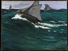 The Green Wave: 1866 by Claude Monet (Metropolitan Museum of Art, NYC) - Impressionism Monet Paintings, Impressionist Paintings, Landscape Paintings, Claude Monet, Pierre Auguste Renoir, Manet, Artist Monet, Oil Painting Reproductions, Art Moderne
