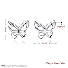 Aliexpress.com : Buy Free Shipping Beautiful Fashion white gold plated earings d'oreille fashion jewelry Cute Zircon Butterfly stud cufflinks horloge from Reliable plated earrings suppliers on Rose Fashion Jewelry CO., LTD.