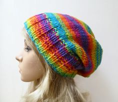 Chunky Slouchy Beanie Hat - Women Hand Knitted Hat - Rainbow Slouch Beanie Hat - Acrylic Oversized Knit Beanie Hat - Clickclackknits by Clickclackknits on Etsy