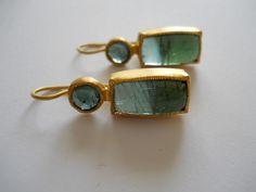 Pamela Harari's Blue Tourmaline Earrings in 22K Gold