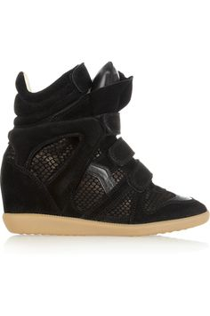90a46d96bdf7 Isabel Marant - Bazil suede and snake-effect sneakers