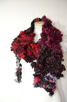 """Super Chunky  Art Yarn Scarf * Gray and Burgandy * Soft  to Skin  * OOAK Hand Spun Wool 100"""" x 6"""" Merino Mohair and Leicester Long Wool by Kakodah on Etsy"""