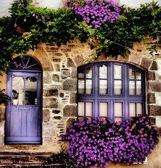 Rochefort-en-Terre, Bretagne (****Photoshopped with purple. See original Pin with blue door/window. Cool Doors, Unique Doors, Purple Door, Window Boxes, Door Knockers, Doorway, Windows And Doors, Gate, Entrance