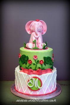 Lilly Pulitzer Inspired Pink Elephant Birthday Cake
