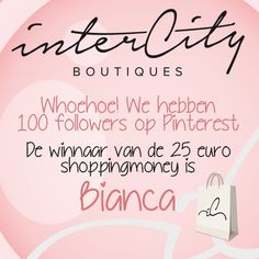 Whoehoe! We hebben inmiddels 122 volgers op Pinterest, super bedankt allemaal! De winnaar van de 25 euro shopping money is @bianccxx   Zou je z.s.m. je gegevens willen mailen naar klantenservice@intercityonline.nl? Dan komt je prijs gauw naar je toe. Happy shopping!