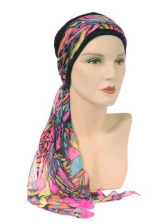 Hat with Tropical design Maxi Scarf