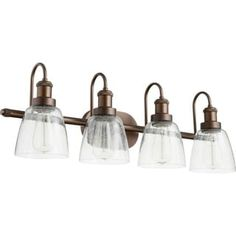 Quorum International Clear Seeded Glass Family 4 Light Vanity or Sconce Fixture. Comes with 4 -100 Watt Socket ( Bulb not Included ). Fixture Direct Wire Mounted. Fixture Comes in Three Finishes, Satin Nickel, Aged Brass and Oiled Bronze. UL Damp Location. This fixture needs to be hardwired. Professional installation is recommended.