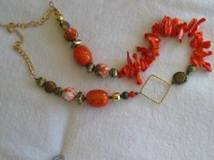 Orange Necklace, Shell Necklace, Mother-of-Pearl Necklace, Geometric Iridescent Orange Mother of Pearl Shell Mixed Media Necklace