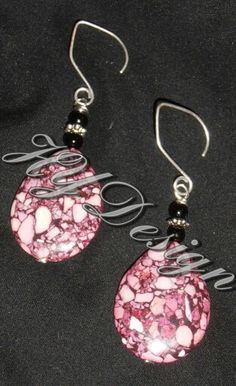 Earrings, Pink & Black marbled stone. Handmade jewelry.  #HYD