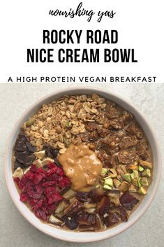 Rocky Road Nice Cream Bowl | Vegan, Gluten Free & High Protein | Nourishing Yas - Simple Plant based Recipes #vegan #veganrecipes #healthyrecipes #breakfast #nicecream #chocolate #rockyroad #protein #veganbreakfasts #plantbased