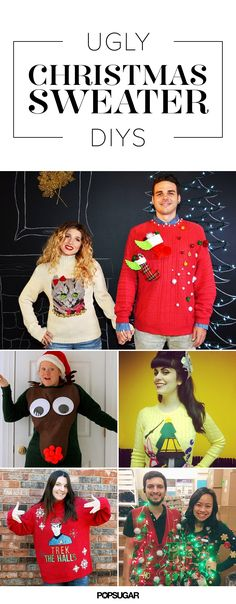 43 Ugly Christmas Sweater DIYs That Will Make Your Friends and Coworkers LOL <br> It's the time of year for Christmas music, holiday cheer, gifts, and food galore. But most importantly, it's the time of year for ugly sweaters. Getting decked Cheap Ugly Christmas Sweater, Christmas Jumpers, Diy Christmas Sweaters, Cheap Christmas, Christmas Ideas, Christmas Crafts, Ugly Sweaters Diy, Christmas Outfits, Christmas Fashion