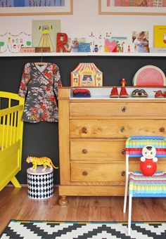 adorable mix of vintage and new in a nursery