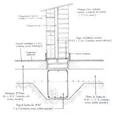 Platea de fundación - Muro doble: ladrillo hueco interior, ladrillo común exterior French Architecture, Architecture Drawings, Architecture Details, Civil Engineering Design, Building Foundation, Section Drawing, Construction Drawings, Detailed Drawings, Technical Drawing